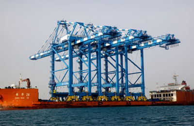 Khalifa Port boosts capacity with three Shanghai-built quay cranes