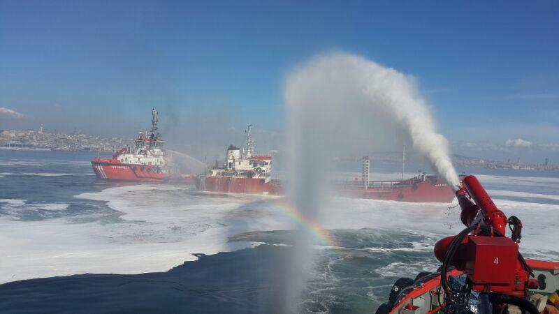 Fire on tanker off Yenikapi, Istanbul