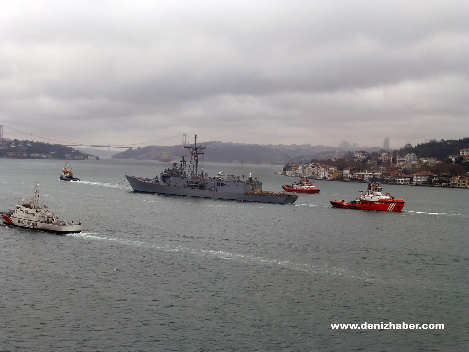 Damaged USS TAYLOR Passed Istanbul Strait under tow