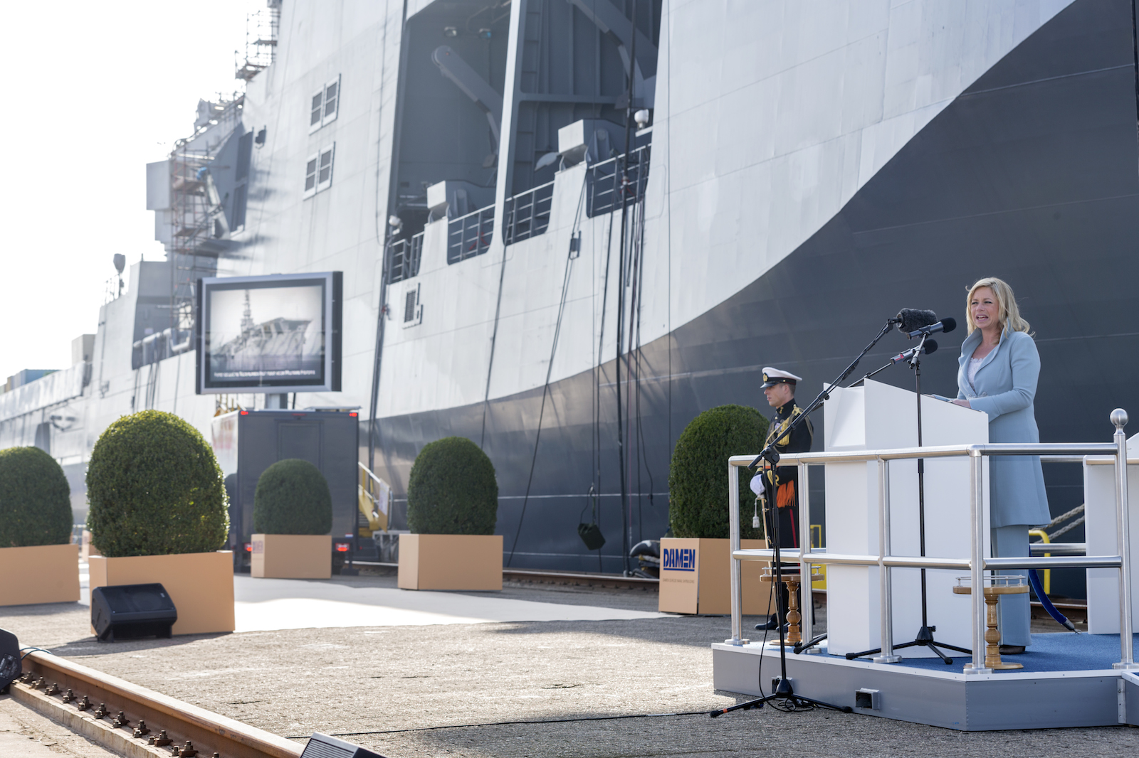 Minister commissions Dutch navy's biggest ship