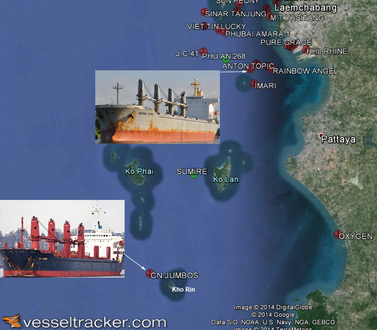 """Bulkcarriers """"Anton Topic"""" and""""CN Jumbos"""" in collision off Phuket"""