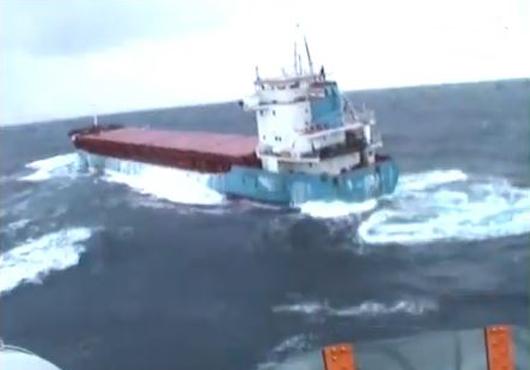 Drifting Cargo Vessel Wilson Gdynia in Need of a Tug, UK