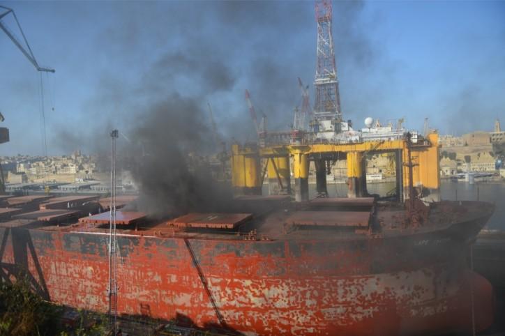 Bulk carrier Cape Tavor on fire at the Palumbo Shipyards