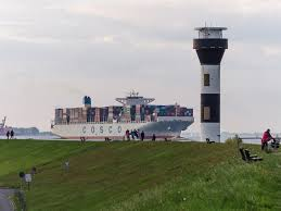 Fire on container ship Cosco Pride on the the lower Elbe