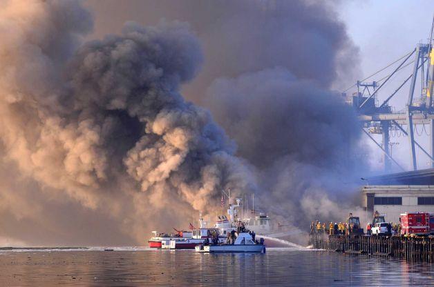 Fire fighters battle waterfront blaze 12 hours in Port of Los Angeles