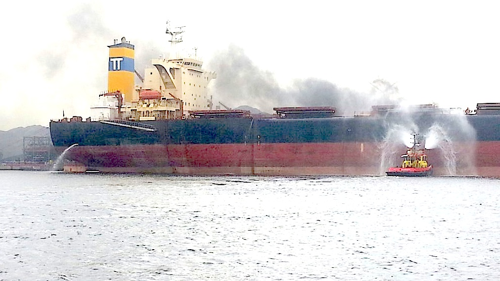 Fire on bulkcarrier New Caterina in Amsterdam
