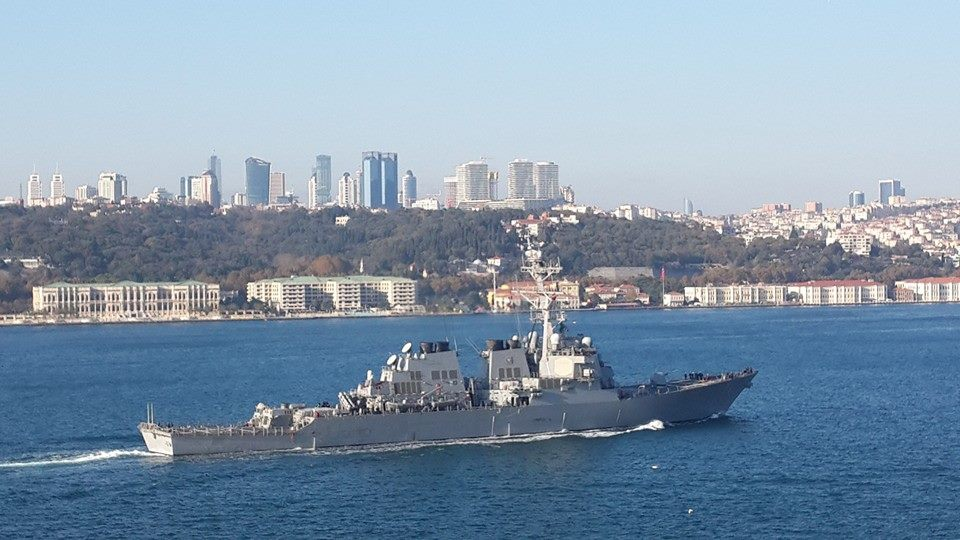 Guided missile destroyer USS Ross passed through Bosphorus