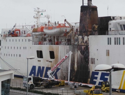 "Fire damaged Greek ferry ""Ierapetra L"" off Brindisi"