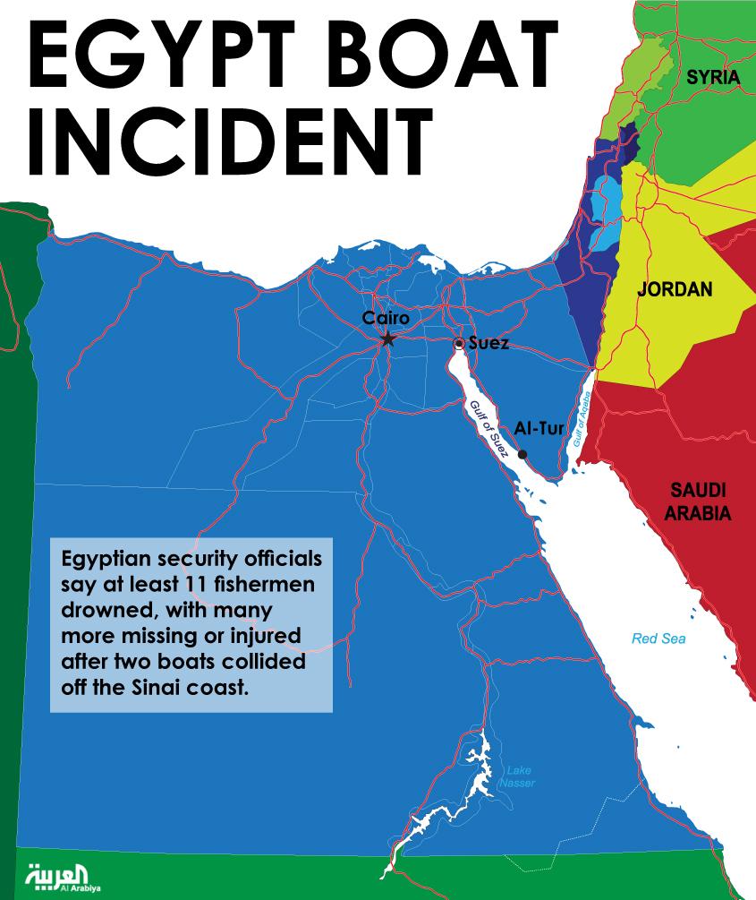Collision kills 13 Egyptian fishermen in Gulf of Suez