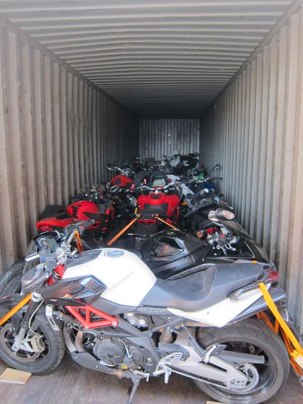 Hong Kong Customs seizes US$541,708 in motorbikes in 3 containers