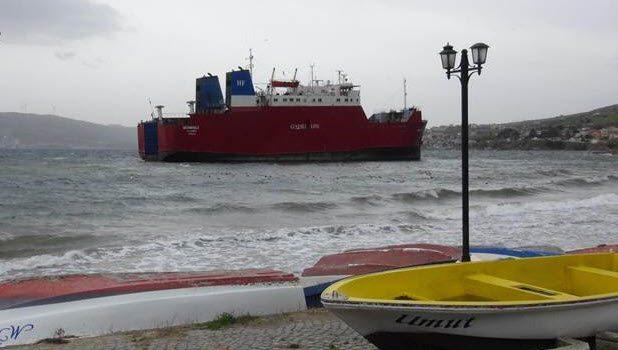 """Ferry """"GUNESLI"""" grounded in Bandırma"""
