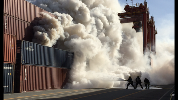 Toxic chemical fire shuts down Vancouver's city side Canterm docks to all