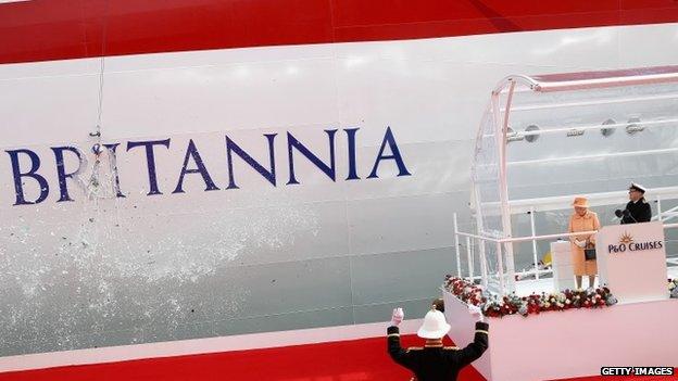 The Queen has officially named the new cruise ship Britannia.
