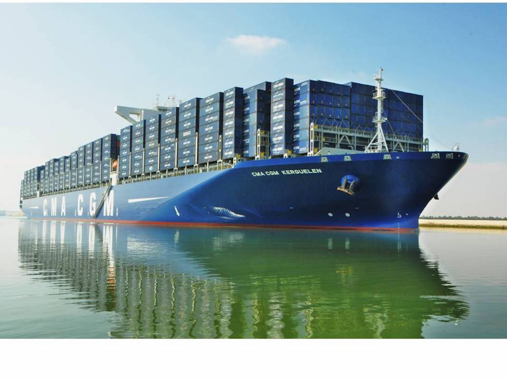 The CMA CGM KERGUELEN, CMA CGM's largest vessel, crosses the Suez Canal