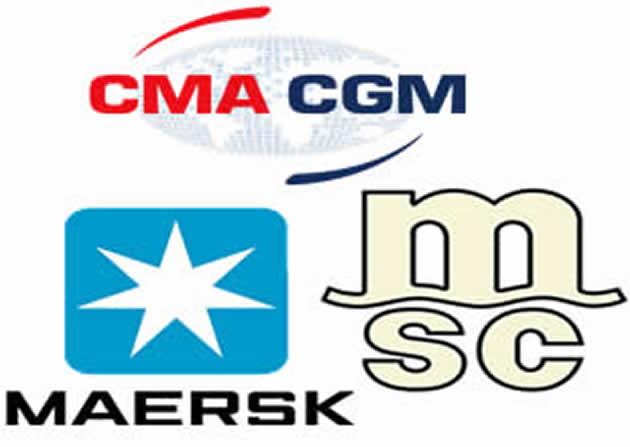 MSC's No 1, Maersk's No 2, Evergreen No 3, CMA CGM No 4 in TEU rankings