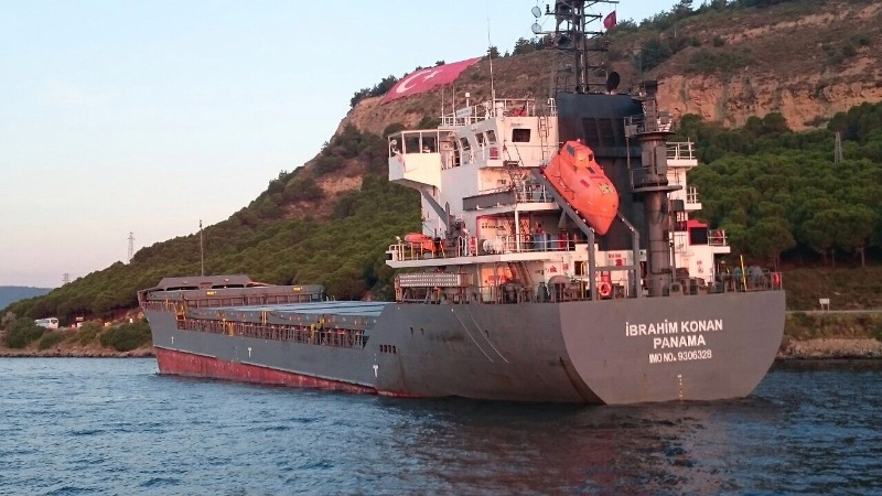 "Turkish-Owned dry cargo ship ""Ibrahim Konan"" went aground in Çanakkale Strait"