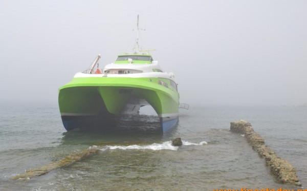 HSC Flying Cat 4 went aground in Aegean due to fog