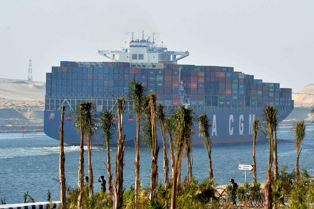 CMA CGM ships lead procession through 'new two-way Suez Canal