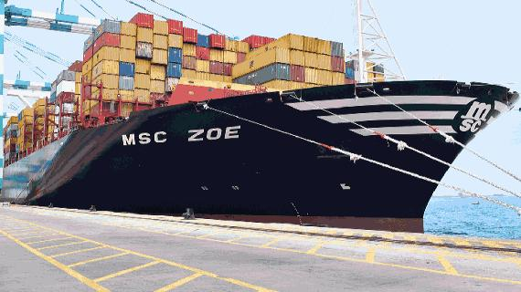 Special family christening of MSC Zoe on maiden call on Hamburg