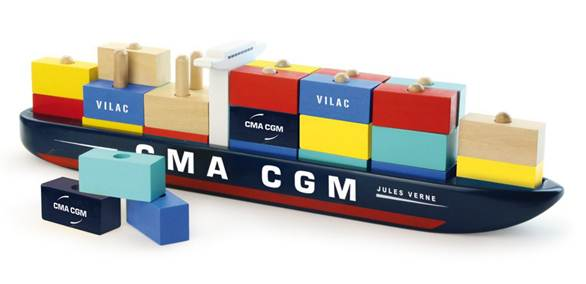 """CMA CGM together with VILAC launch a wooden educational toy """"My first container ship"""""""