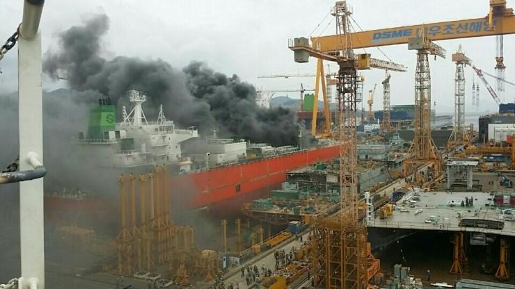 Fire at DSME's Okpo shipyard kills worker, injures seven