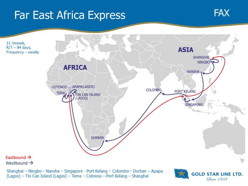 Gold Star Line to enhance its Asia-West Africa Service