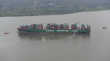 19,200-TEU CSCL Indian Ocean runs aground near Hamburg