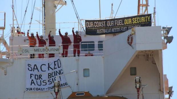 Sacked crew of CSL Melbourne refuse to leave vessel in protest