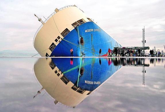 Modern Express: ShoreTension system to right tilting vessel