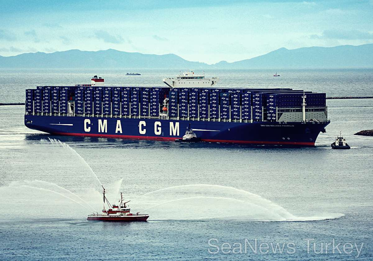 CMA CGM BENJAMIN FRANKLIN, the largest vessel ever to call the US, inaugurated