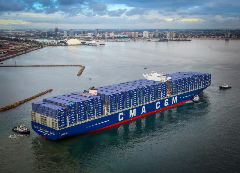 18,000-TEU CMA CGM Benjamin Franklin tests docking in Port of Long Beach