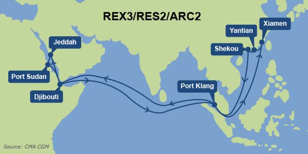 CMA CGM, UASC, Hanjin, CSCL halt China-Red Sea REX3/ARC2 loops