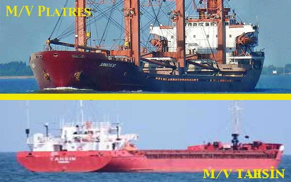 Collision off Istanbul: M/V Tahsin collided with M/W Platres
