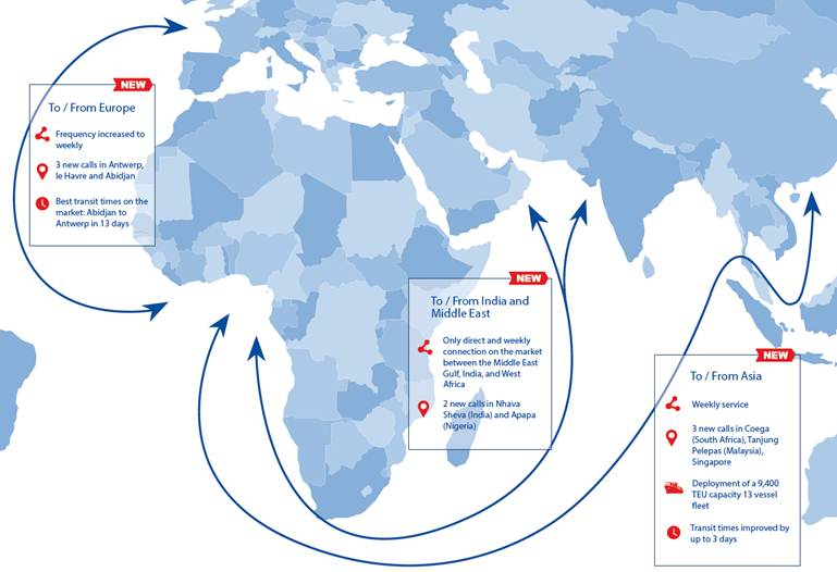 West African coast: CMA CGM speeds expansion, increases ship size