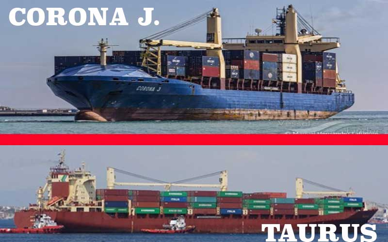 Boxship CORONA J allided with box ship TAURUS in Port of Mersin