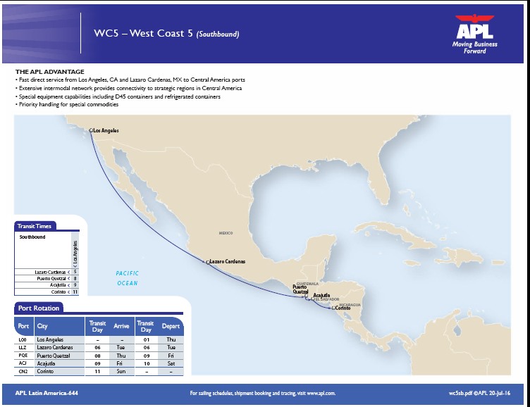 APL expands 'West Coast 5' service by adding 3 port calls in Central America