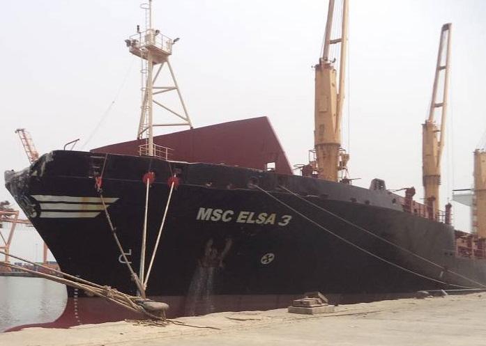 """Containership """"MSC Elsa 3"""" slammed into abondoned bulker"""