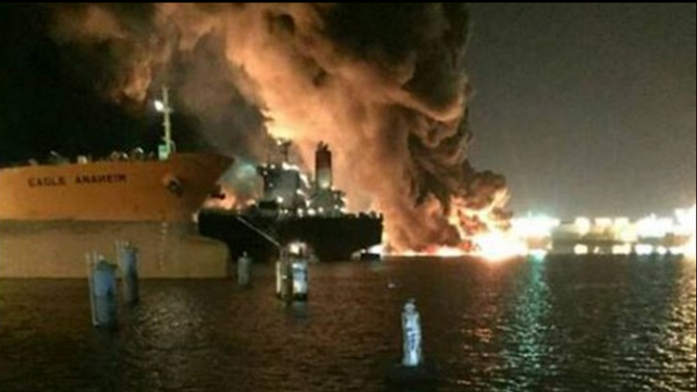Mile of Houston channel closes due to tanker fire, bunker oil spill
