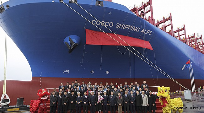 Cosco receives 3rd 14,500 TEU vessel from China State