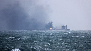 Iranian oil tanker still burning after collision off China coast