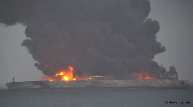 M/TSanchi ablaze after collision with CF Crystal off Shanghai, 32 missing