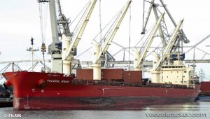 Bulkcarrier freed from ice trap