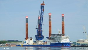 Wind turbine jack-up Sea Installer completes eight-day stopover at Damen Shiprepair Dunkerque