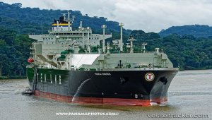 LNG tanker 4,000th Neopanamax transit through expanded Canal Monday, August 13, 2018, Panama Canal, Panama