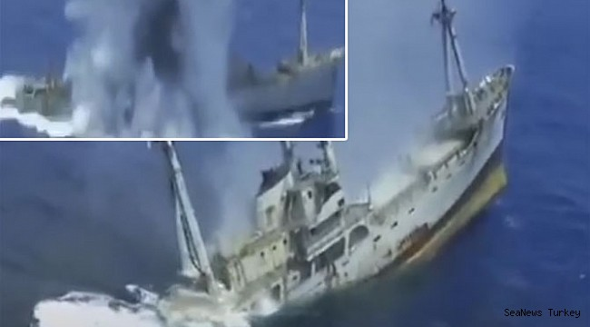 The freighter sunk with torpedo by the Greek Navy! (Video)