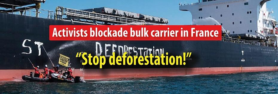 """Activists blockade bulk carrier in France: """"Stop deforestation!"""""""